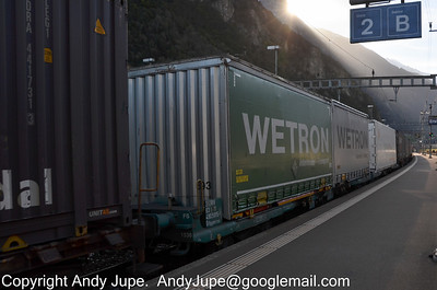 Italian registered 31 83 4909 815-8 (Sffggmrrss) heads north through Erstfeld, Switzerland with train number 41082, Melzo Scalo, Italy to Venlo, Netherlands on the 19th of October 2012