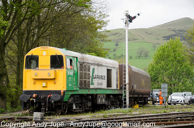 20 168 brings a small rake of HTAs out of Hope Cement Works and onto the headshunt ready for movement back into Earles Sidings on the 10th of May 2012