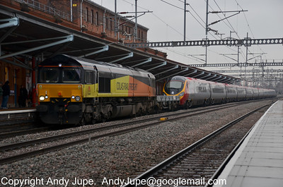 66 847 hauling 390 056, forming 6X56 05:35 Dollands Moor to Longsight (Manchester) at Rugby on Monday 13th February 2012