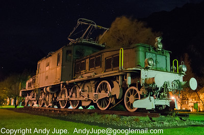 Ce 6/8 II 14270 guards the depot at Erstfeld, Switzerland during the night of the 19th October 2012.