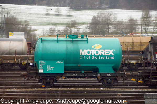 Motorex livered 2 axle tank wagon Zs 23 85 7358 101-0 sits in Limmatal Yard located between Killwangen-Spreitenbach station & Zürich, Switzerland on the 29th of January 2013
