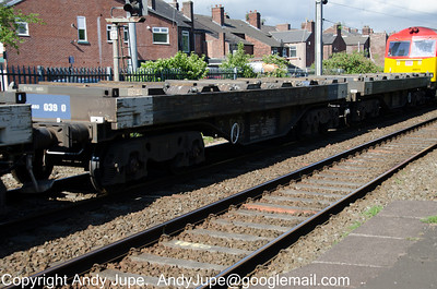 BVA 952028 passes through Earlestown station in the consist of the Fridays only 6E14 16:10 Seaforth to Tinsley on the 1st of June 2012