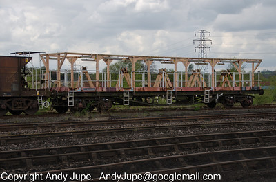 Cable Drum Carrier Wagon YVA KDC 950082 sits in Toton Yard on the 8th of May 2012