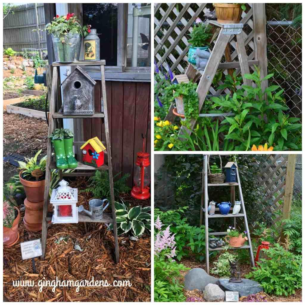 Garden Vignette using an old ladder.
