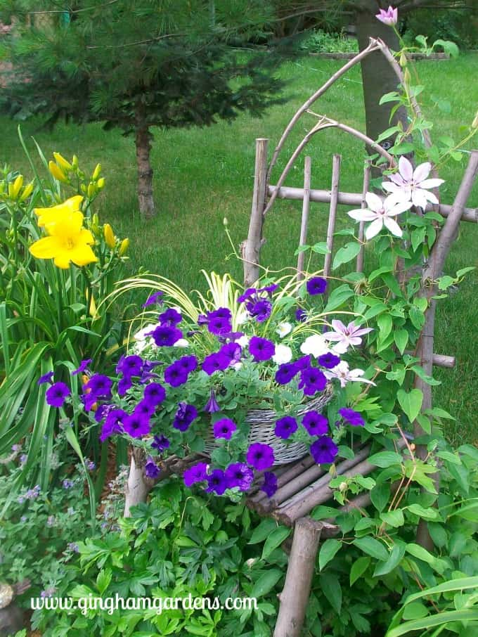 DIY Maple Twig Chair with Basket of Petunias