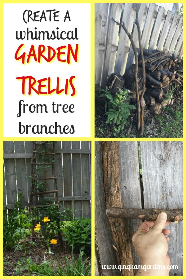 Garden Trellis from Tree Branches