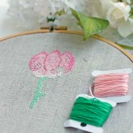 Abstract pink and green cross stitch