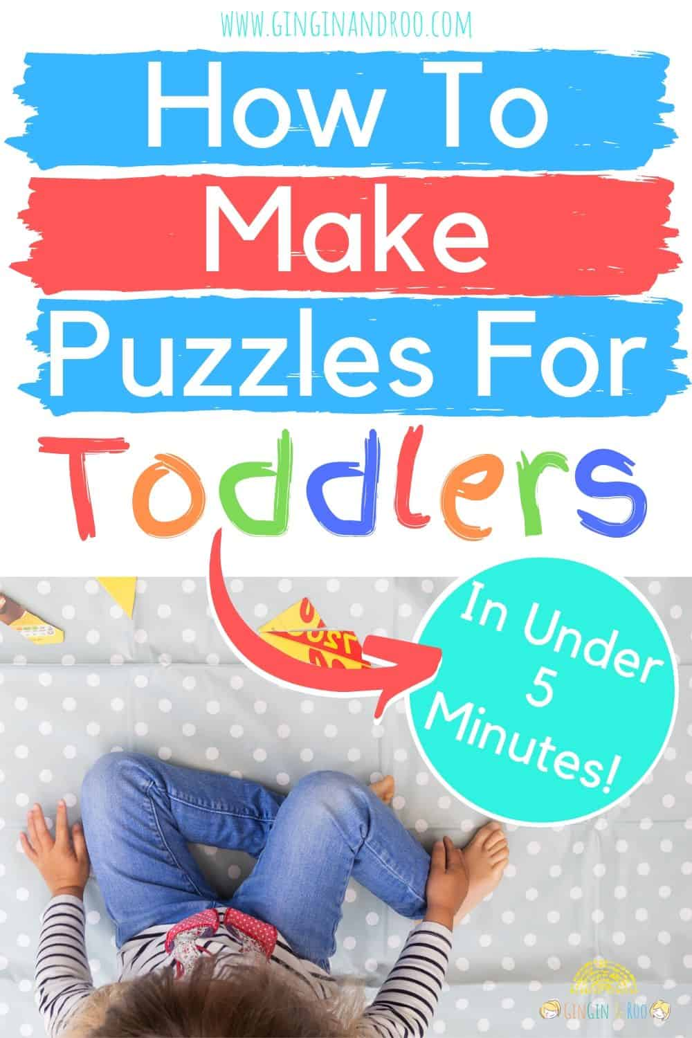 Making your own homemade puzzle for preschoolers is such a super-simple, quick and easy activity to set up for your kids. And it's just perfect for rainy days.  #preshoolerplay #toddlerideas #preschoolactivities