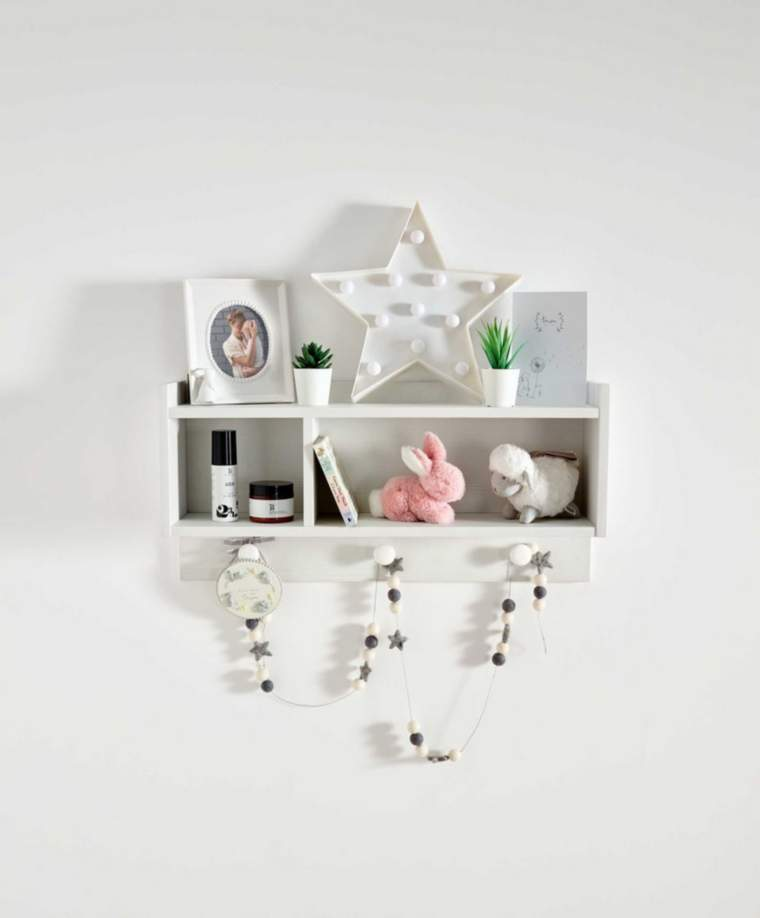 Mamas & Papas white toy shelf with compartments and peg rail for toy storage ideas from GinGin & Roo