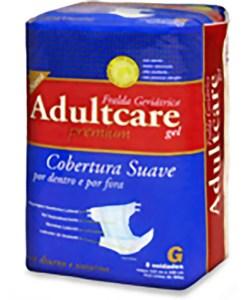 Fralda Geriátrica Adultcare Premium G - Tamanho do produto: Cintura 115 a 150 cm e Peso acima 80 Kg Quantidade na embalagem: 8 unidades