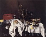"""Willem Claeszoon Heda, """"Still life with pie, silver ewer and crab"""" (1658)"""