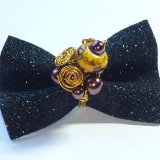 Anello perle marrone e oro