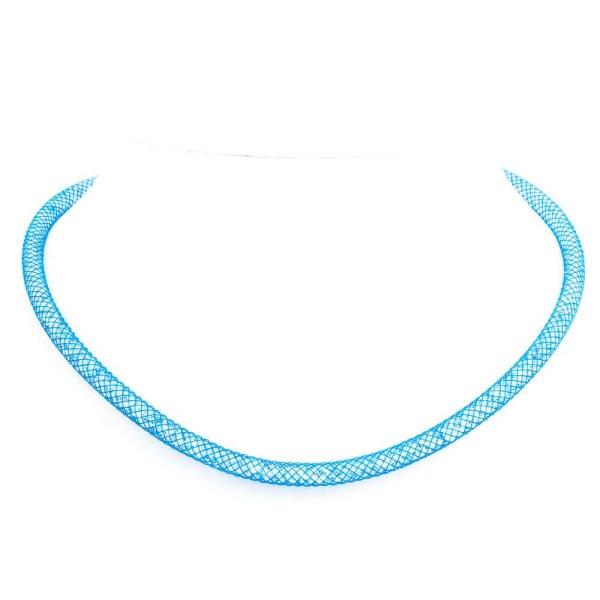 Collana e bracciale a due giri azzurra con cristalli