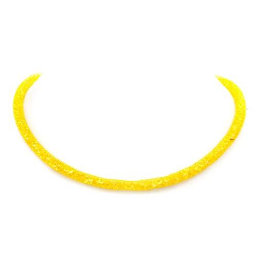 Collana e bracciale a 2 giri giallo acceso
