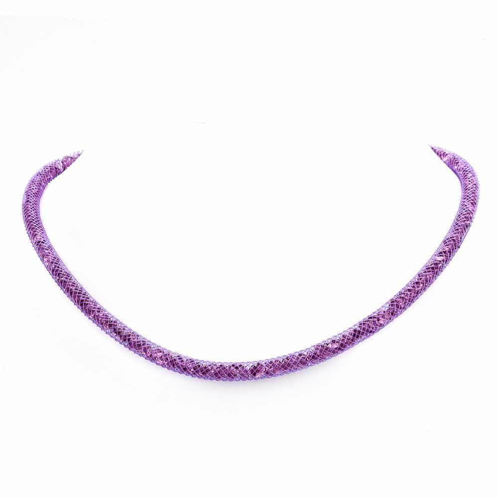 Collana viola con cristalli luminosi in argento 925