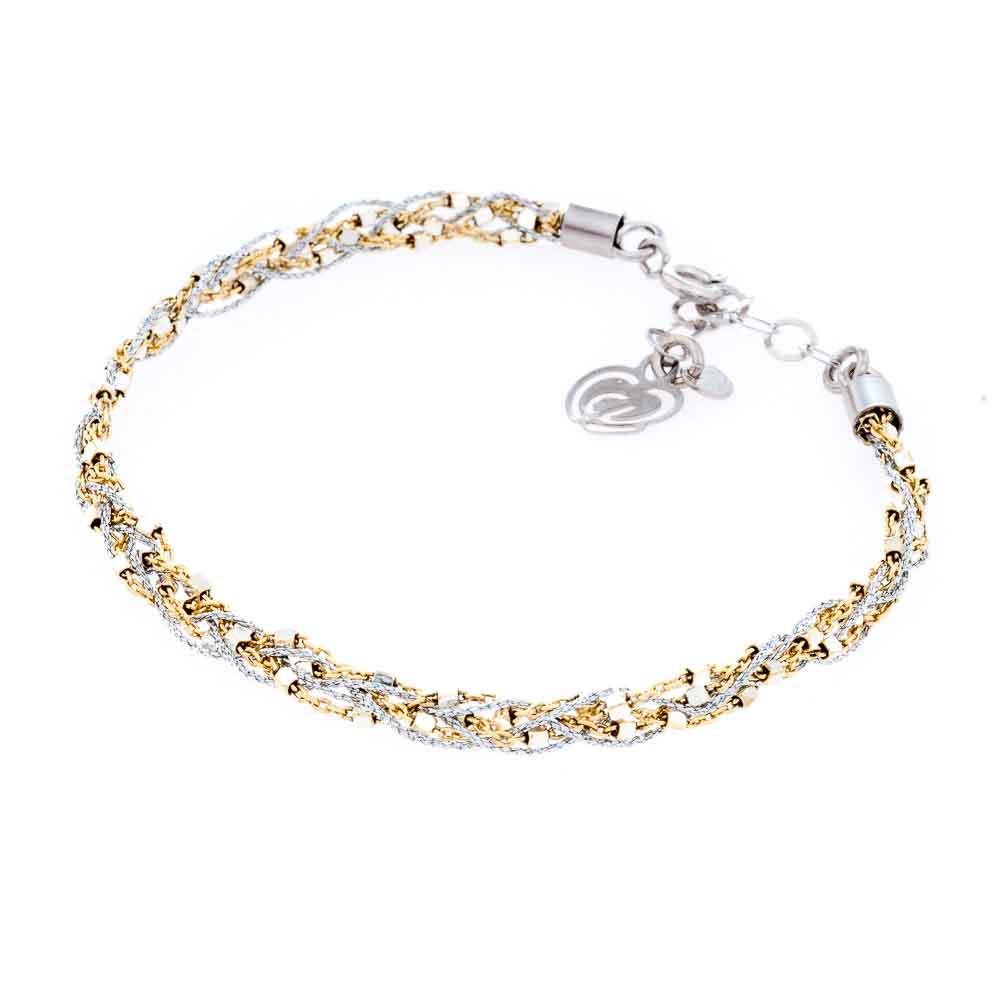 bracciale argento tessuto oro giallo