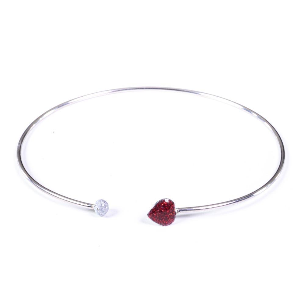 bracciale argento rigido e cuore rosso