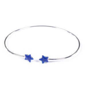 Bracciale rigido argento 925 con 2 stelle smaltate azzurro