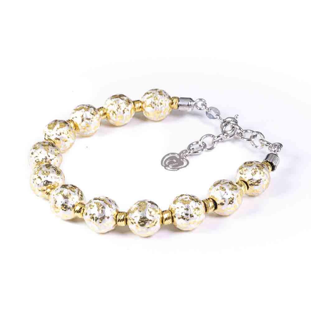 bracciale color oro in argento-925 sfere