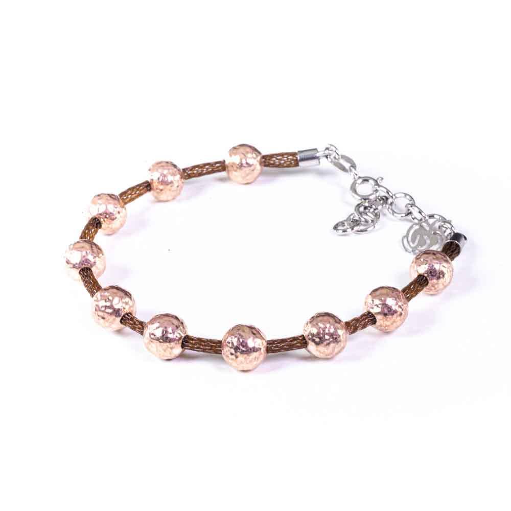 bracciale argento rosato e base marrone