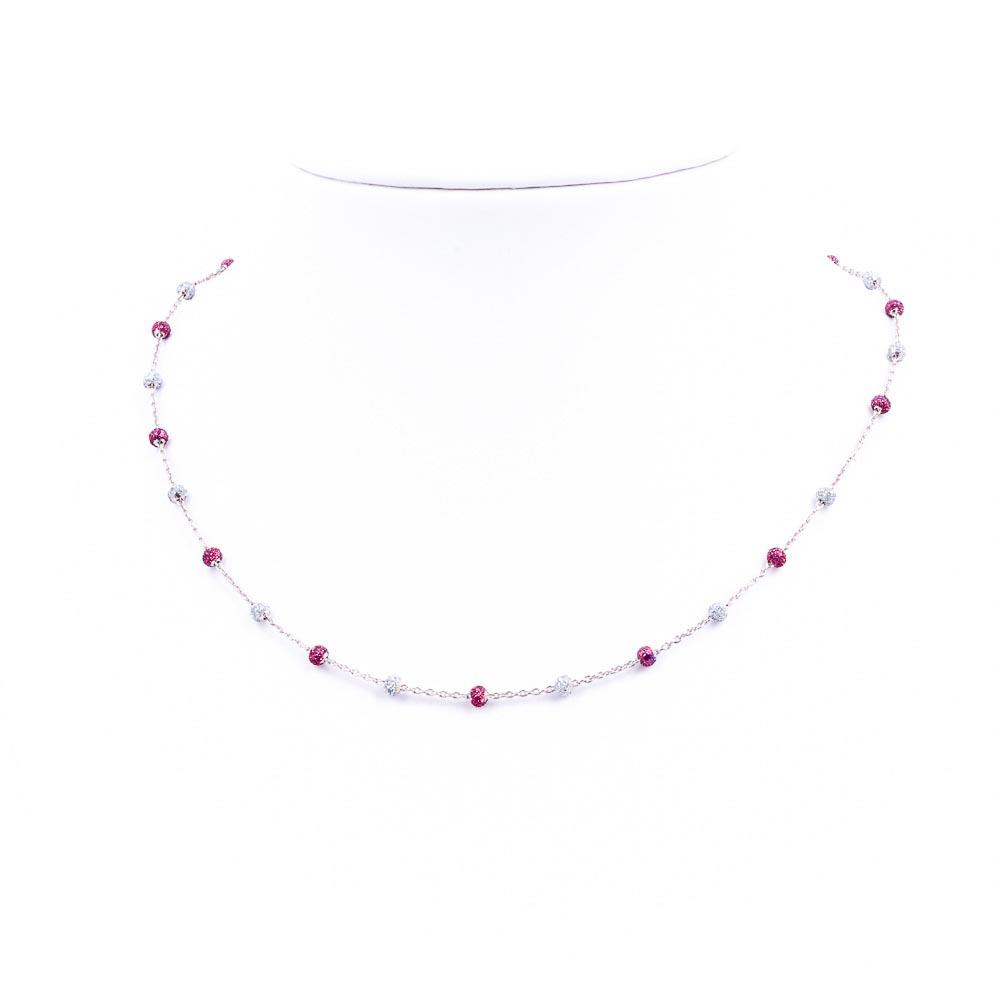 collana smalti fucsia-bianco-glitter argento-925