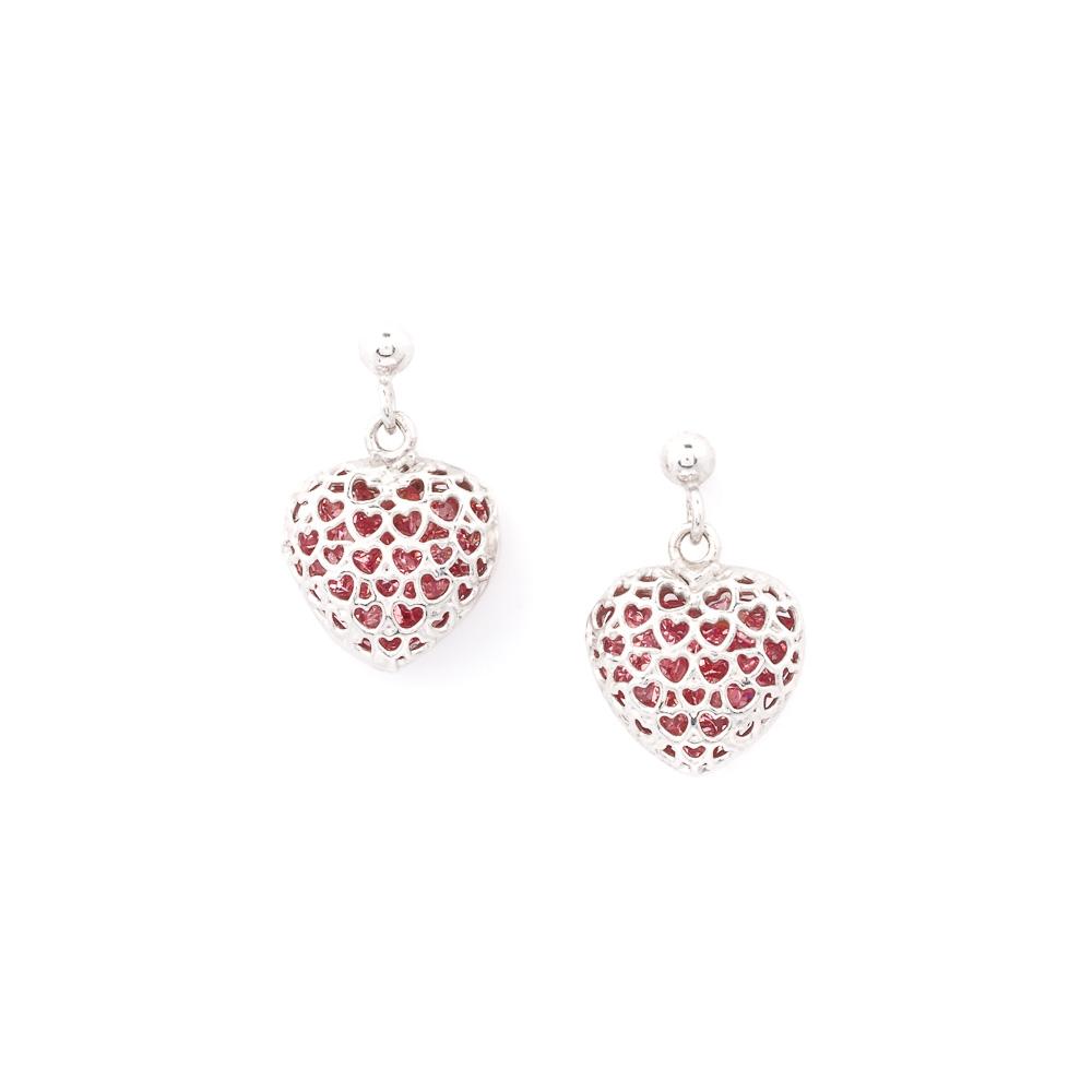 orecchini rosa argento-cristalli a forma di cuore