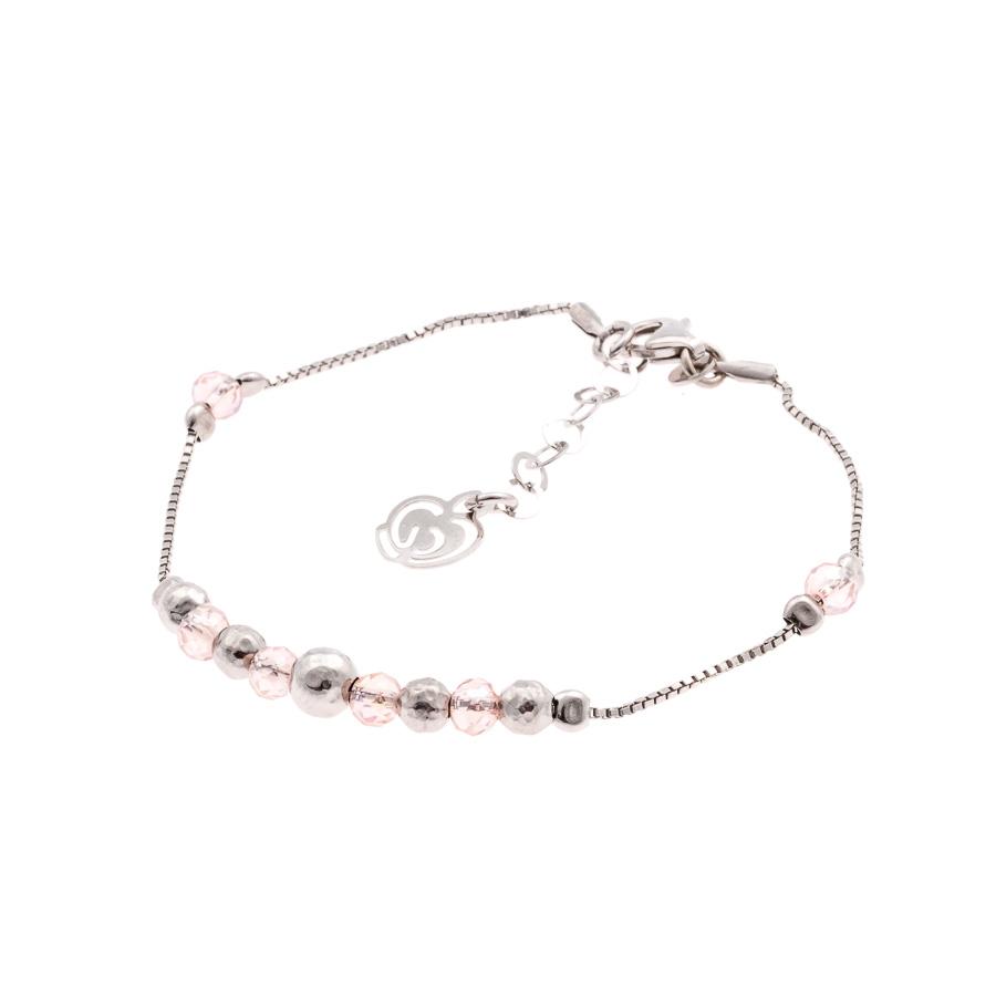 braccialetto argento rosa
