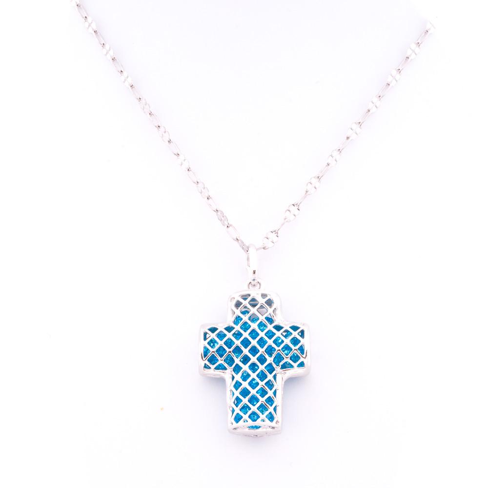 ciondolo argento croce azzurro