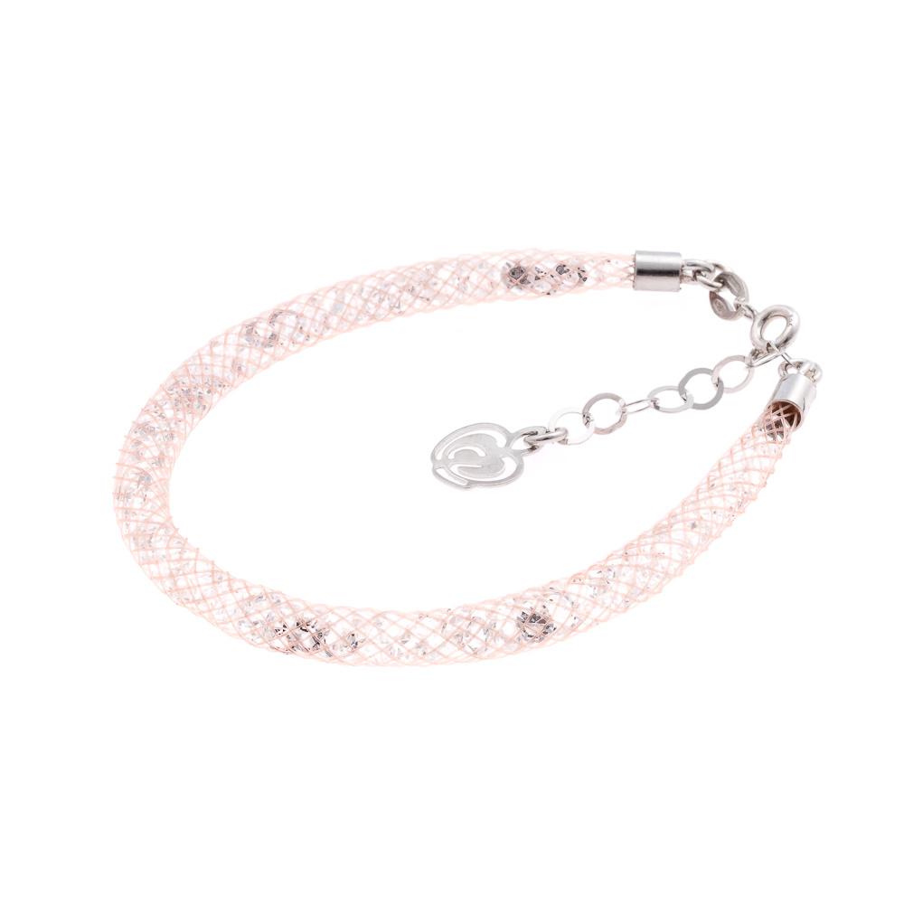 Bracciale rosa cipria argento-925-cristalli bianchi