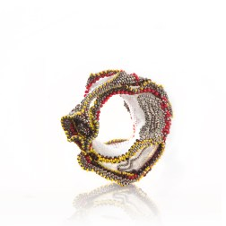S.Carré, Inflammation #8 bracelet, nylon thread, Red bamboo and Red Tiger Eyes beads, beads, 2015