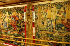 Kanko Boko float gion festival original Gobelin tapestry displayed next to modern copy