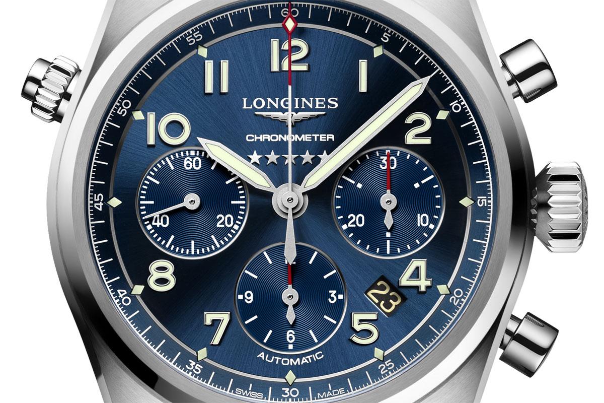 Il quadrante del Longines Spirit Chronograph