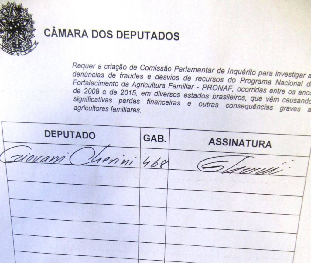 Giovani Cherini assinou a CPI do PRONAF