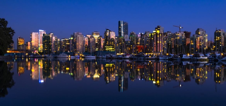 Vancouver Downtown Night Skyline