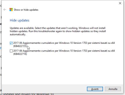 KB4022725, black screen e patch da nascondere (per ora) (aggiornato) 1