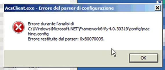 Errore nell'apertura delle applicazioni con Net Framework