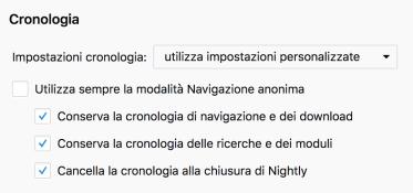 Firefox: snellire la cronologia pulendola automaticamente 1