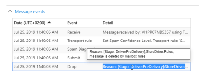 Office 365: StoreDriver.Rules; message is deleted by mailbox rules 2