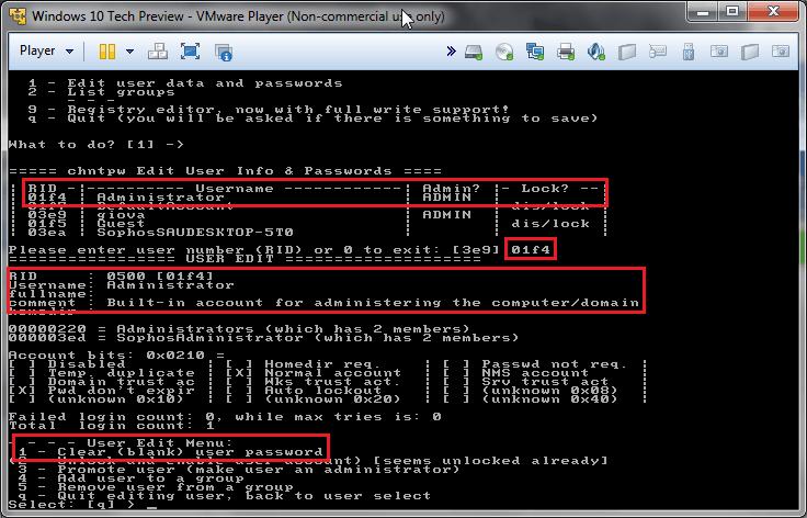 Chntpw: cambiare password all'amministratore di Windows 6