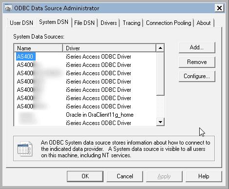Connessioni ODBC: esportazione, importazione (file REG)