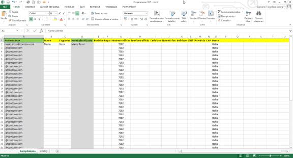 Creare caselle di posta in bulk su Office 365: modello Excel