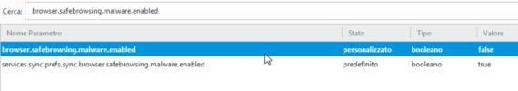 Disabilitare il controllo malware nel gestore download di Firefox 2