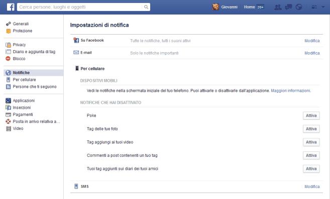 Facebook: modificare le notifiche da ricevere (approfondimento) 2