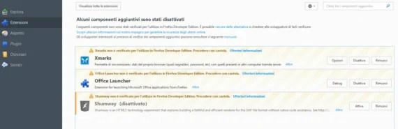 Firefox: disabilitare il controllo firme degli addon (se necessario) 1