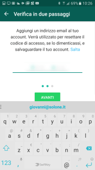 Sicurezza: la 2-step verification di WhatsApp 5