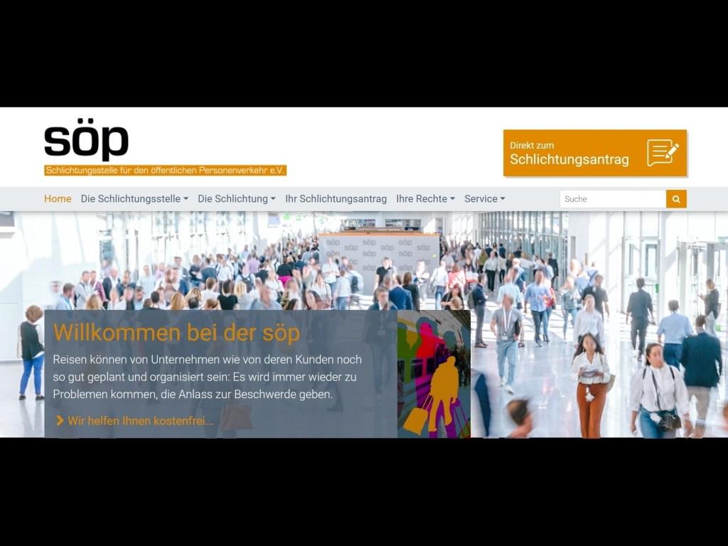 Webseite der Schlichtungsstelle für den öffentlichen Personenverkehr (söp)