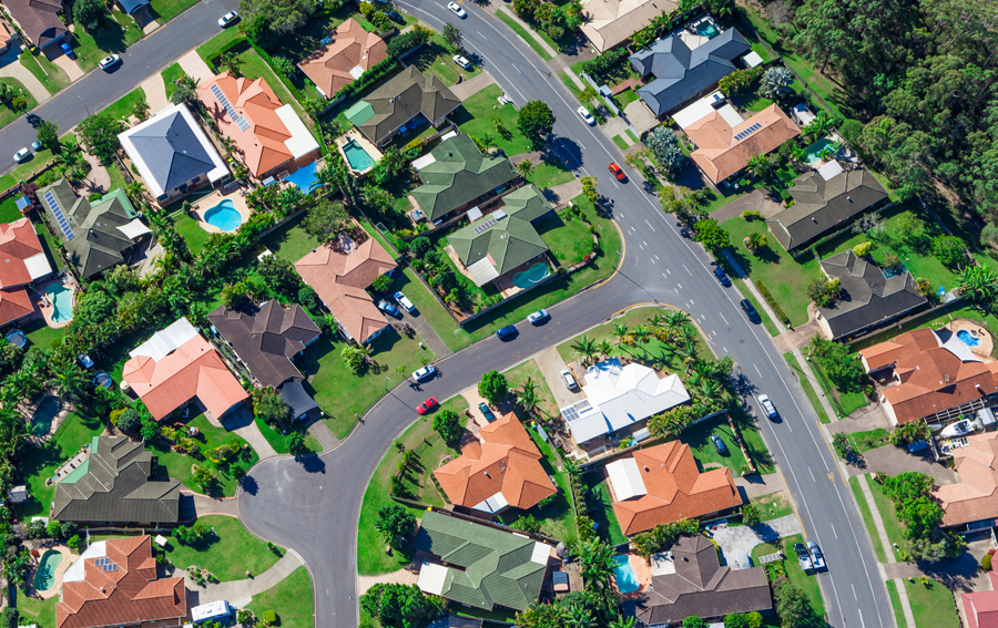 Aerial view of Gippsland suburban Houses