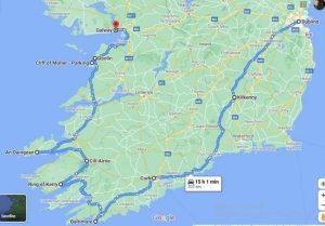 cartina irlanda con tragitto