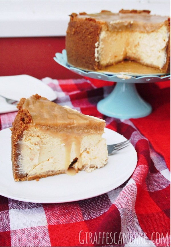 Apricot Cheesecake with Amaretto Caramel
