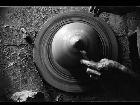Pottery wheel B&W 125 ASA film,1990